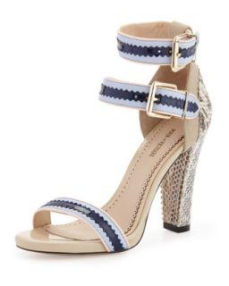 Veronica Snakeskin Ankle Wrap Sandal, Blue/Multi   Pour la Victoire