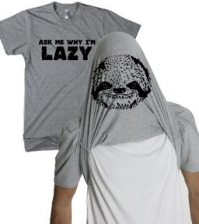 Ask Me Why I'm Lazy T Shirt Funny Flipup Sloth Shirts at  Men�s Clothing store Fashion T Shirts