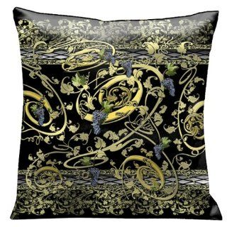 Lama Kasso Como Gardens Grape Vine Swirls of Gold and Green on a Black Micro Suede 18 Inch Square Pillow, Design on Both Sides   Throw Pillows