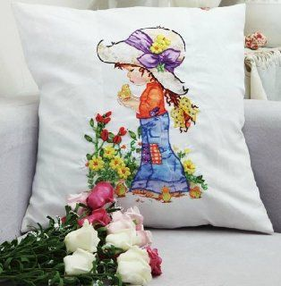 Blue Moon Needlecrafts   Mothers Day Gift, Little Princess Decorative Throw Pillow Case, Stamped Silk Ribbon Embroidery Kit, 18 By 18 Inches
