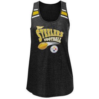 Pittsburgh Steelers Ladies Tri Blend Scoop Neck Racerback Tank Top   Black