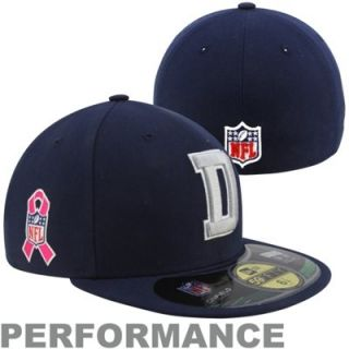 New Era Dallas Cowboys Breast Cancer Awareness On Field 59FIFTY Fitted Hat   Navy Blue
