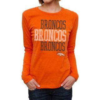 Denver Broncos Ladies Team Repeat Long Sleeve T Shirt   Orange