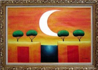 Four Modern Green Trees in Moonlight Large Oil Painting, with Ornate Gold Wood Frame 30x42 Inch