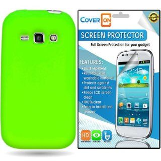 CoverON� Samsung Galaxy Ring / Prevail 2 Silicone Rubber Soft Skin Case Cover Bundle with Clear Anti Glare LCD Screen Protector   Neon Green: Cell Phones & Accessories
