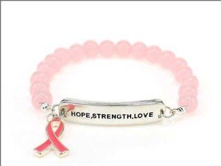"Silvertone Breast Cancer Support ""Hope, Strength, Love"" Stretch Bracelet W/Pink Ribbon Charm: Everything Else"
