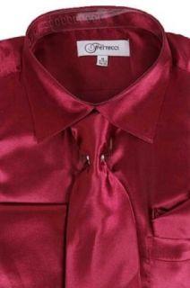 Classy Men's Satin Shiny Burgundy Shirt Set (XXL(18 Neck)(36/37 Sleeves)) at  Men�s Clothing store