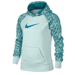 Nike KO 2.0 OTH AOP Hoodie   Girls Grade School   Training   Clothing   Teal Tint/Tropical Teal