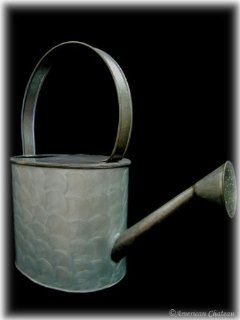 New Retro Large Iron Galvanized Metal Blue Watering Can  Outdoor Statues  Patio, Lawn & Garden