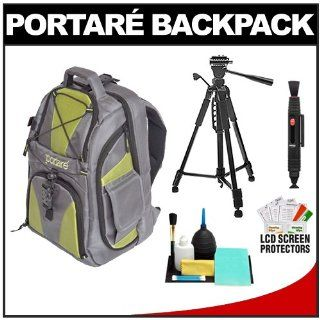 """Portare' Multi Use Laptop/iPad/Digital SLR Camera Backpack Case (Gray/Green) with 58"""" Photo/Video Tripod + Cleaning Kit for Sony Alpha DSLR SLT A35, A37, A55, A57, A65, A77, A99 Computers & Accessories"""