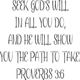 Bible Verse Wall Decals Proverbs 36 Decal Seek God's Will Religious Wall Quotes   Prints
