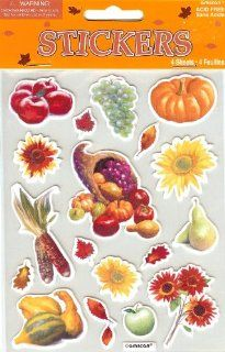 Autumn Fall Harvest Flowers and Fruit Scrapbook Stickers