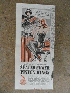 Sealed Power Piston Rings, Vintage 30's print ad (girl in under wear getting flowers) Original vintage 1938 Collier's Magazine Print Art.