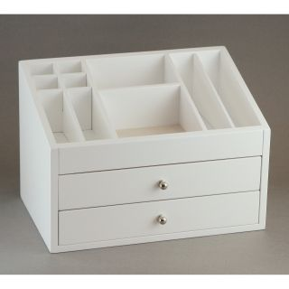 White Cosmetic Wooden Jewelry Box   11W x 7.5H in.   Womens Jewelry Boxes