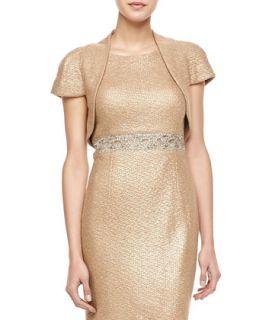 Womens Short Sleeve Bolero Jacket   Kay Unger New York   Champagne (8)