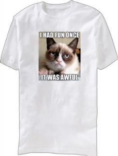 Grumpy Cat I Had Fun Once It Was Awful Adult White T Shirt: Clothing