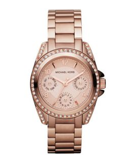 Mini Size Blair Multi Function Glitz Watch, Rose Golden   Michael Kors   Rose