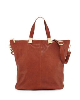 Corner Weathered Faux Leather Tote Bag, Cognac   Violet Ray