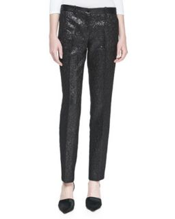 Womens Crepe Metallic Crushed Pants, Black   Michael Kors   Black (2)