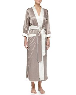 Womens Monte Carlo Satin Long Robe, Truffle/Cream   Louis at Home   Truffle/Cr