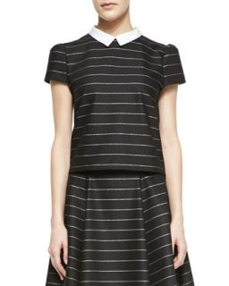 Womens Blake Striped Puff Sleeve Top   Alice + Olivia   Black/Stripe (X SMALL)