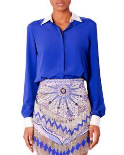 Womens Contrast Trim Crepe Blouse   Emilio Pucci   Cobalt (44/10)