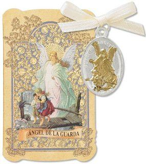 Catholic Christian Gift Prayer Folder with Spanish Angel de la Guarda Guardian Angel Tu Tone Gold Tone Charm Medal Pendant: Jewelry