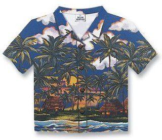 Hawaiian Aloha Shirt Cut Out Blue Palm Tree Hale Mouse Pad: Electronics