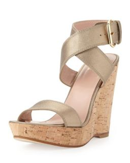 Xray Metallic Leather Cork Wedge, Ale   Stuart Weitzman   Metallic ale (37.0B/7.