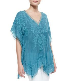 Womens Damask Embroidered Poncho   Johnny Was Collection   Orion blue (LARGE