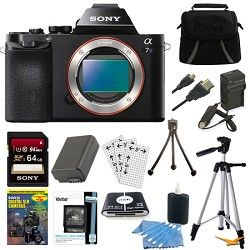 Sony ILCE 7S/B a7S Full Frame Camera 64GB SDHC Card, Battery & Tripod Bundle