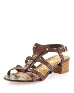 Angela Studded T Strap Sandal, Dark Brown   Sam Edelman   Dk brown (8B)