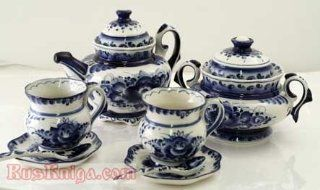 "GZHEL Art TEA Set KAROLINA Authentic Artist Signed [Hand painted. Material: porcelain. Set includes: teapot   6.5"" x 7.5"" (17 cm x 19 cm), sugar dish sugar dish   5.5"" x 6"" (14 cm x 15 cm), 2 cup and saucer sets   3.25"" x 4"" ("