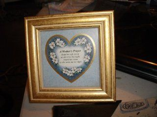 "A Mother's Prayer   Keep her safe, Lord, as she rests this night. Guard her room as she turns out her light. (4"" x 4"") Matted in floral heart secured into wood painted gold square frame, and, encased in glassa: Collectible Figurines: Kitchen"