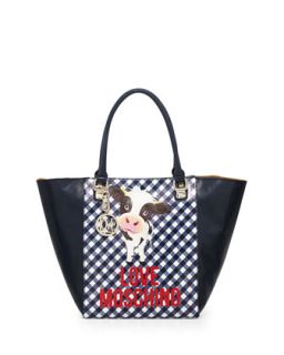 Cow Gingham Print Faux Leather Tote Bag, Blue   Love Moschino
