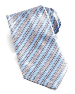 Mens Floral Stripe Silk Tie, Light Blue/Multi   Stefano Ricci   Dark blue
