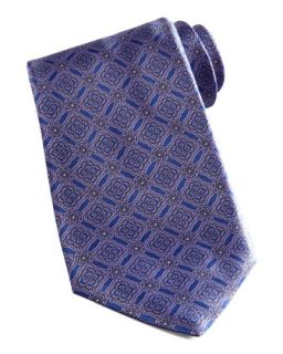 Mens Medallion Grid Silk Tie, Blue/Purple   Stefano Ricci   Blue/Purple