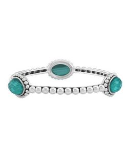 Silver Beaded Maya Malachite Medium Bangle   Lagos   Silver (SMALL)