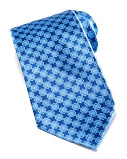 Mens Linked Tiles Silk Tie, Blue   Stefano Ricci   Blue