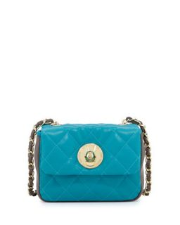 Borsa Quilted Faux Leather Crossbody Bag, Turquoise/Taupe   Moschino