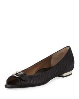 Erica Printed Suede Peep Toe Flat, Black   Anyi Lu   Black (35.5B/5.5B)