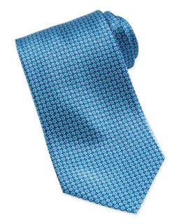 Mens Micro Flower Silk Tie, Blue   Stefano Ricci   Blue