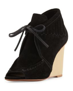 Zared Suede Moccasin Wedge Bootie, Black   10 Crosby Derek Lam   Black (37.5B/7.