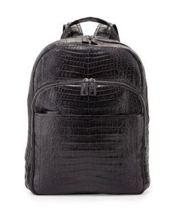Mens Caiman Crocodile Backpack, Black   Santiago Gonzalez   Black