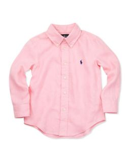 Linen Long Sleeve Blake Shirt, Pink, 2T 3T   Ralph Lauren Childrenswear