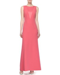 Womens V Back Raised Dart Gown   Paule Ka   Rose (44)