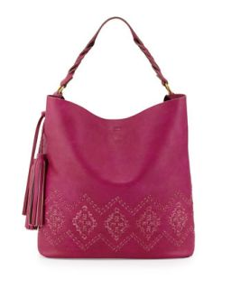 Mary Diamond Stitched Leather Hobo Bag, Magenta   Isabella Fiore