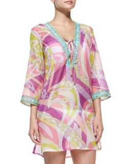 Womens Lace Up Front Voile Coverup   Emilio Pucci   Geranio/Muschio (42/8)