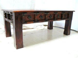 Solid Wood Handmade Unique Design Cocktail Coffee Table Having Hammer Forged Iron Flower Buckle Work, Heavy Wooden Piece
