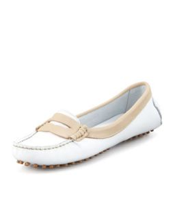 Harper Driver Penny Loafer, White/Beige   Jacques Levine   White/Camel (36.0B/6.